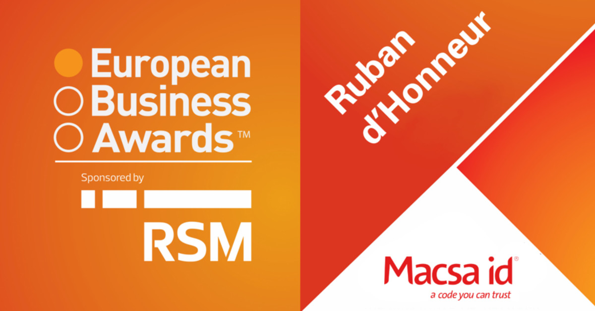 Macsa ID obtiene el premio 'Ruban d'Honneur' en los European Business Awards 2014/15
