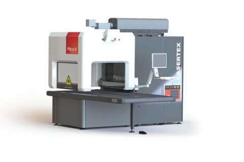 Double conveyor belt for laser marking on textiles