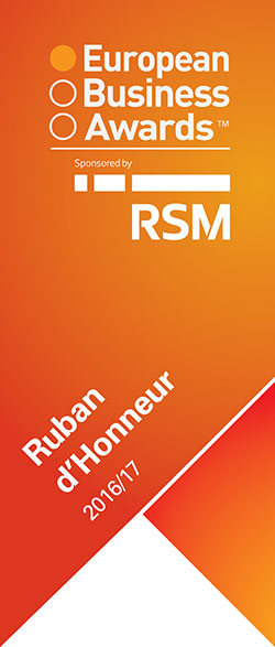 2016/ 2017: European Bussiness Awards: Ruban d'Honneur, one of the 10 most innovative companies in Europe.