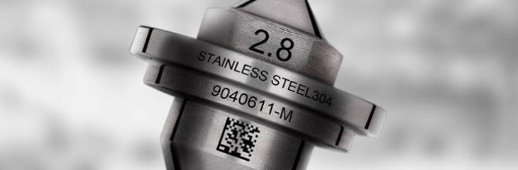 Laser marking of 2D QR code on aluminum valves