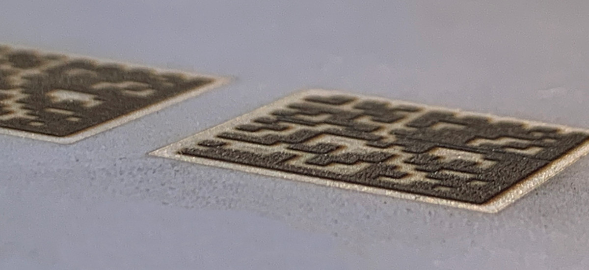 Laser engraving of datamatrix on steel