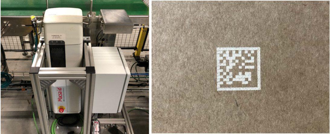 Marcado láser de un datamatrix sobre cartón (TVH – Bélgica)