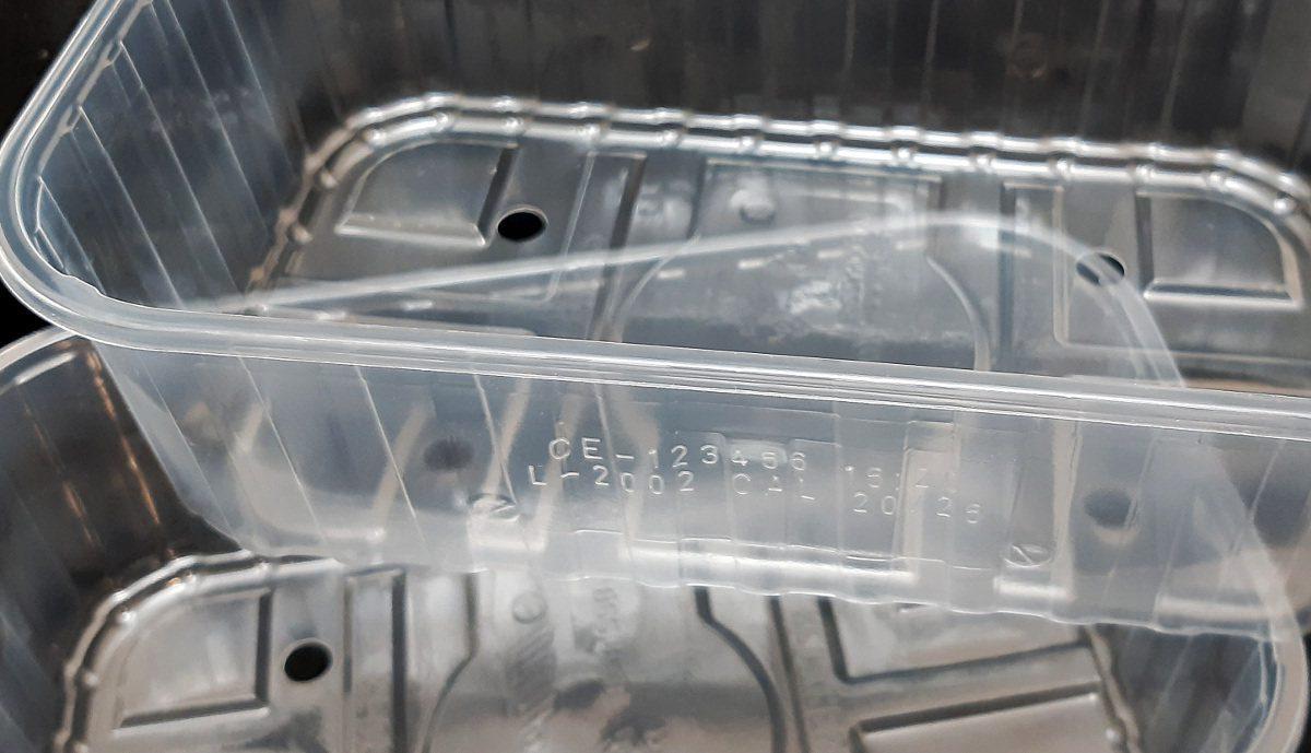 Polypropylene tray laser coding