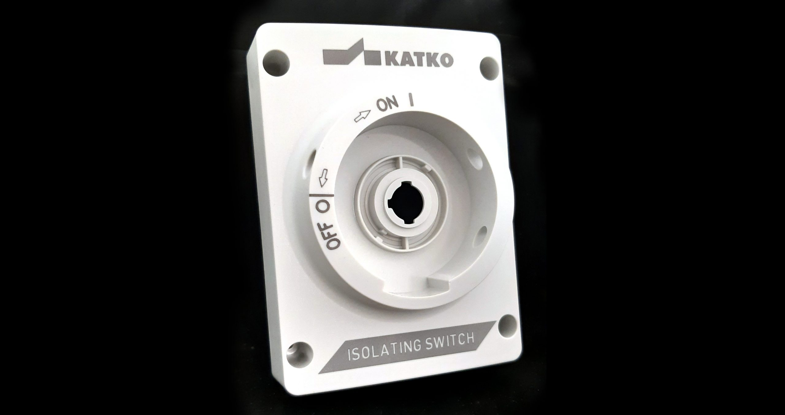 Laser marking at two heights on a plastic switch